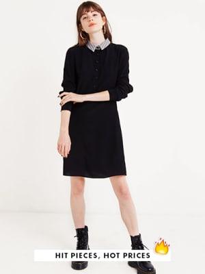 Black Check Collar Button Front Dress