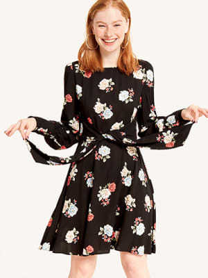 Black Leila Floral Tie Front Dress