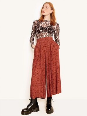 Brown Zeena Leopard Wide Leg Trouser