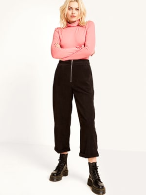 Black Cord Zip Front Trouser