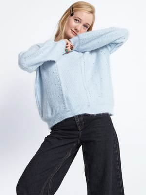 Pale Blue Pointelle Jumper