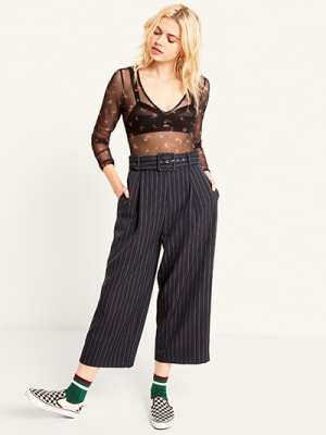 Navy Pinstripe Self Belt Trouser