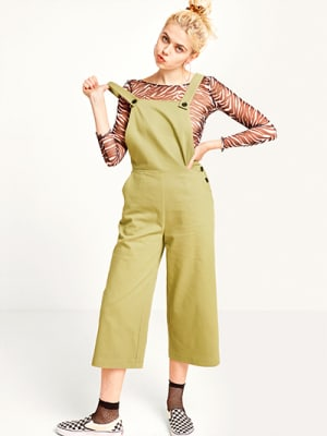 Khaki Dungaree With Button Fastening