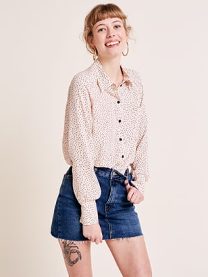 Spot Button Front Shirt With Collar