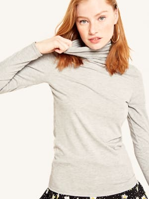 Grey Roll Neck Top