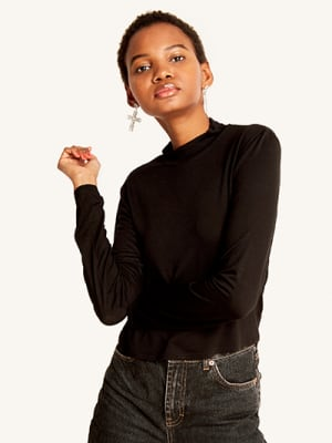 Black Funnel Neck Top