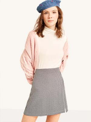 Black and White Dogtooth Mini Skirt