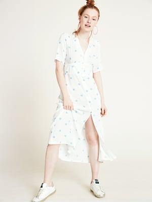 Cream and Blue Alexa Spot Print Midi Dress