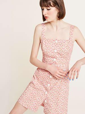 Pink Ditsy Print Lily Pinny Dress