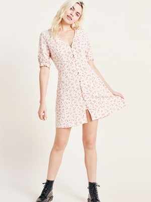 Pink Ditsy Floral Print Giana Mini Dress