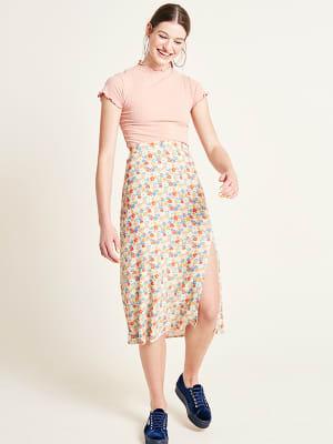 Ditsy Floral Midi Split Skirt