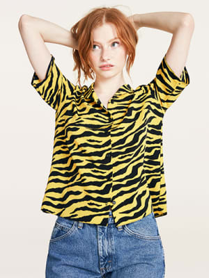 Black and Yellow Tiger Print Ruched Sleeve Boxy Blouse
