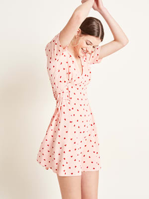 Pink Imogen Heart Print Mini Dress