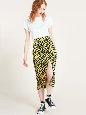 Black and Yellow Tiger Print Midi Skirt