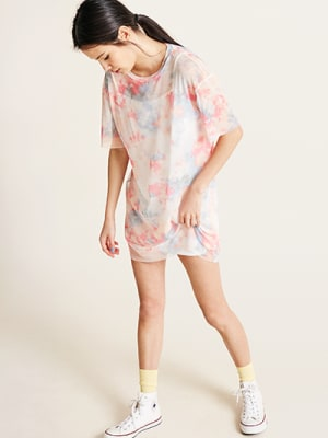 Pink Tie Dye Mesh Mia Boxy T-Shirt Dress