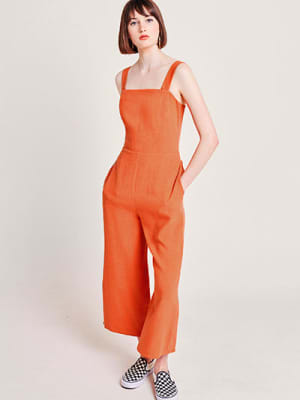 Orange Chloe Linen Blend Jumpsuit