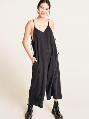 Black Jodie Linen Blend Jumpsuit