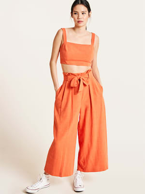 Orange Poppy Linen Blend Paperbag Culotte