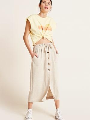 Natural Kiera Linen Blend Midi Skirt