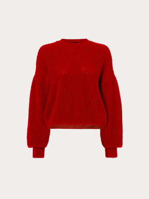 Red Cara Volume Sleeve Jumper