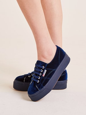 Navy Velvet Superga Trainer