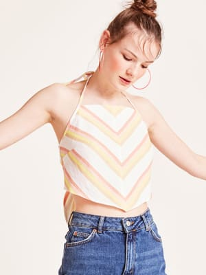 Pink and Yellow Stripe Winnie Linen Blend Crop Top