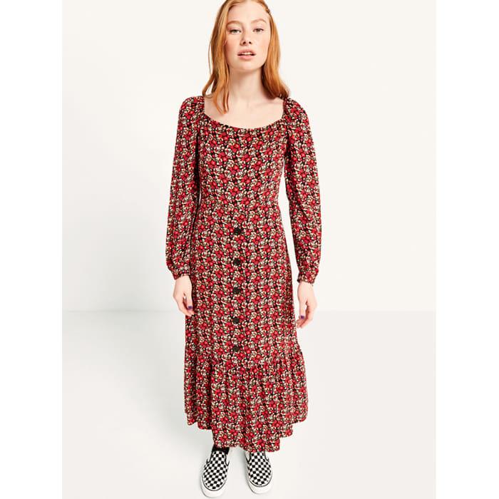 53361e6b22c7 Red Bella Floral Square Neck Button Front Midi Dress