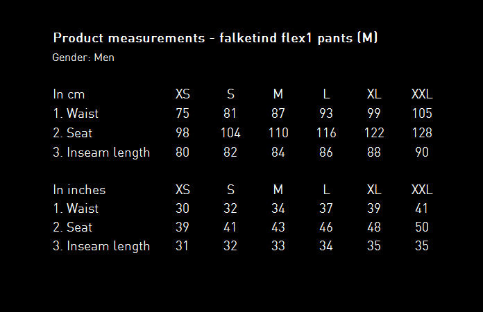 Norrøna falketind flex1 pants for men - size chart