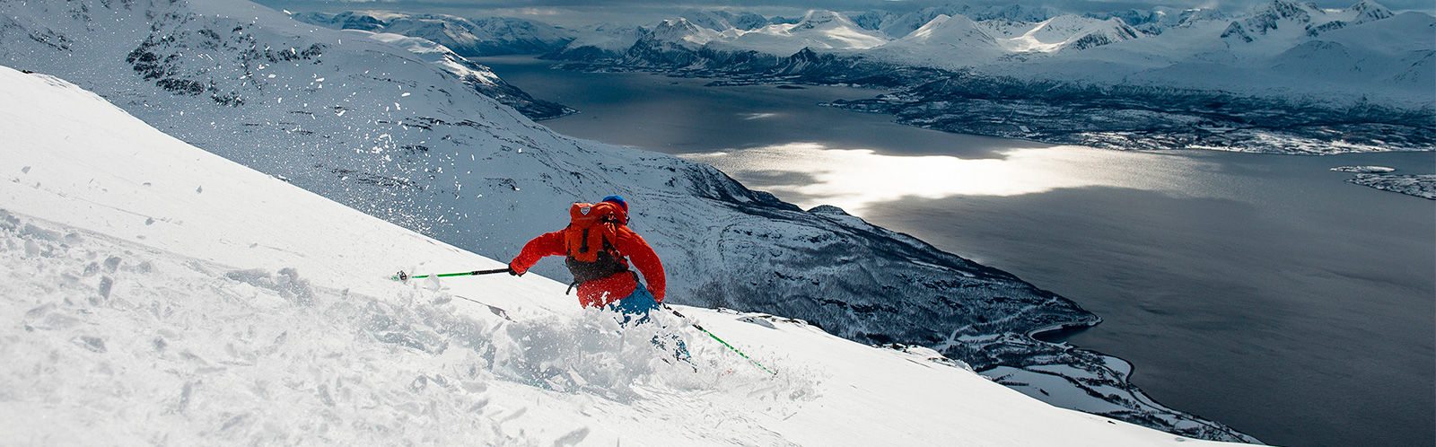 Norrona skier in Georgia with Norrona shell jacket and pants lyngen