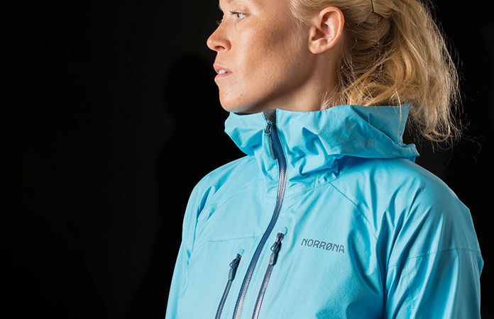 norrøna waterproof jacket for biking and hiking womens