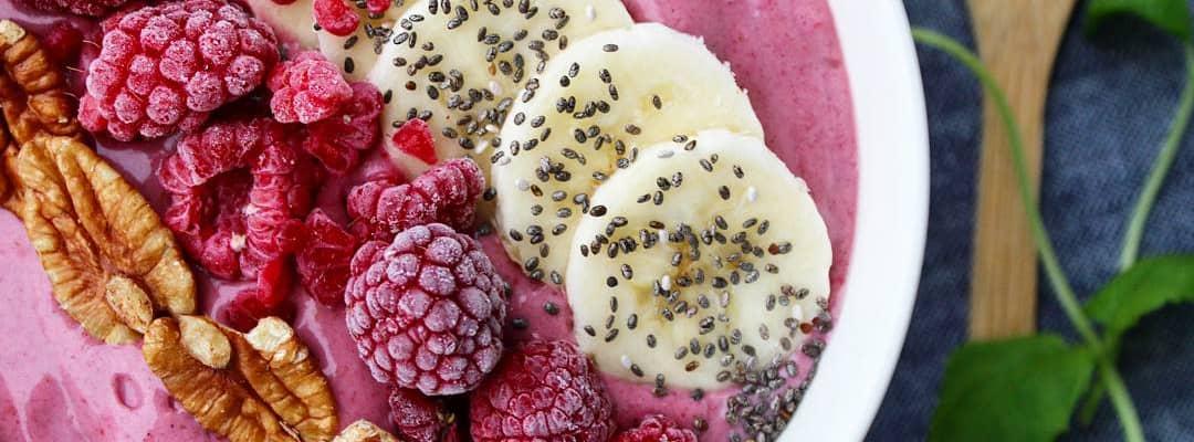 Bilde av Bringebærsmoothie med Q Naturell Yoghurt