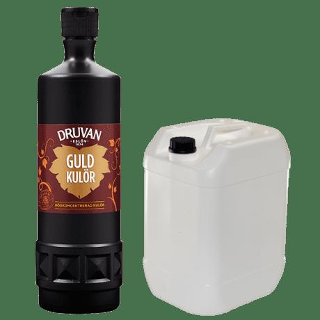 Guldkulör i flaska och dunk