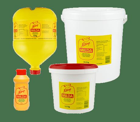 Hultabers Milda i fyra förpackningsstorlekar