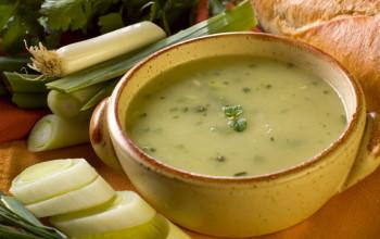 Acorn Squash, Pecan and Leek Soup