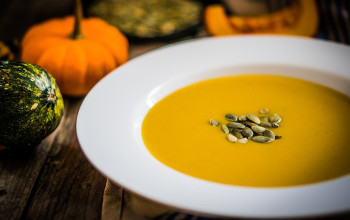 Butternut Squash Bisque with Bourbon Maple Syrup
