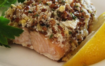 Baked Salmon with Pecan Herb Crust