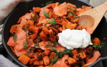 Smoked Salmon and Sweet Potato Hash