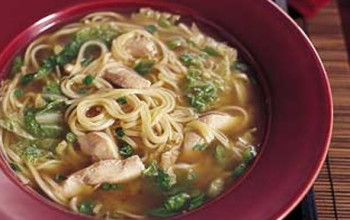 Chicken Noodle Soup with Sesame and Green Onions