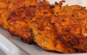 Lower Calorie Baked Sweet Potato Latkes
