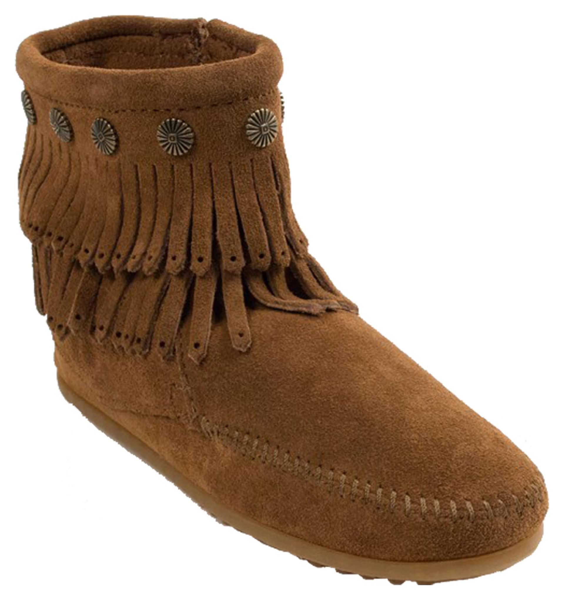 minnetonka s fringe side zip boot dusty brown