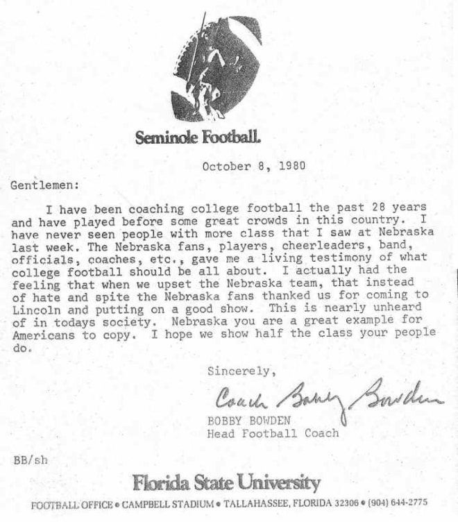 Bobby Bowden wrote a letter to Nebraska fans after a win in Lincoln in 1980.