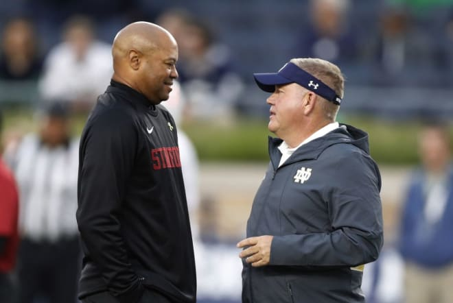 Shaw (left) and the Cardinal have won seven of the last 10 meetings against Brian Kelly and the Irish.