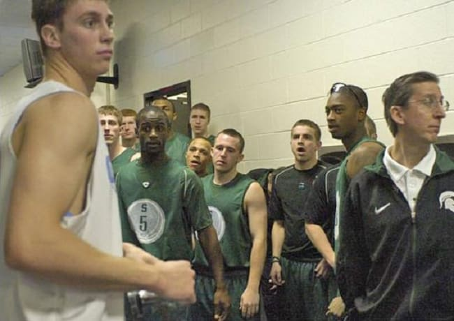 A day later in 2007, Hansbrough went for 33 points in eliminating Michigan State from the NCAAs.