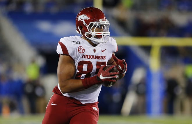 Tight end Cheyenne O'Grady's career at Arkansas is over.