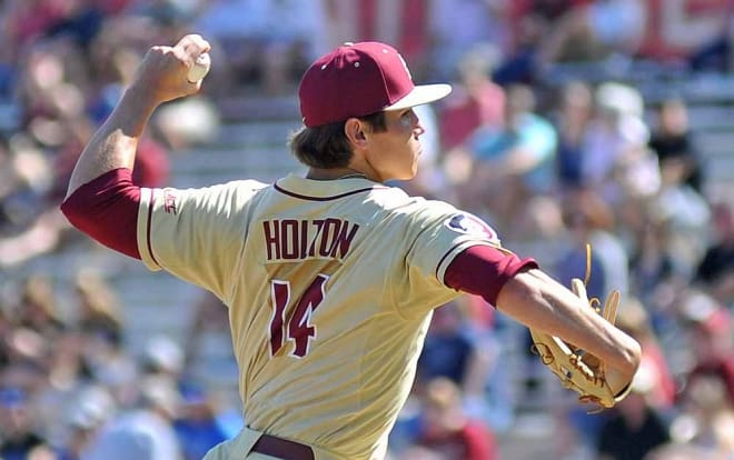 Tyler Holton went six innings and recorded eight strikeouts in Florida State's 11-1 win over Boston College in Game 1 of a doubleheader on Saturday.