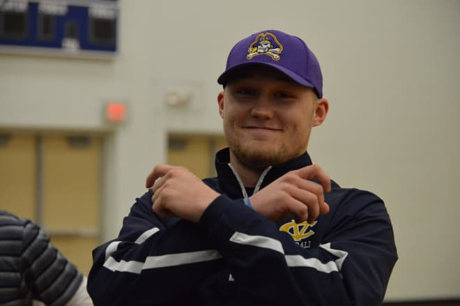 Class of 2018 and D.H. Conley quarterback Holton Ahlers committed to East Carolina on Monday.
