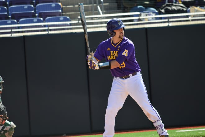 Travis Watkins' grand slam & Charlie Yorgen's three-run bomb lift ECU to a 10-7 win over Charlotte.