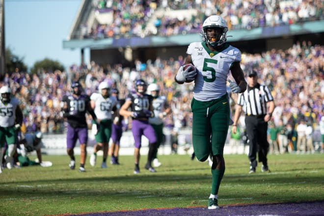 Denzel Mims scoring on the 20-yard TD pass in the second overtime. Baylor converted 4th and 5 at the TCU 20.