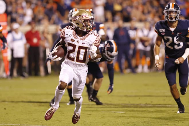 FSU's Keyshawn Helton races past the Virginia defense for a touchdown this past season.