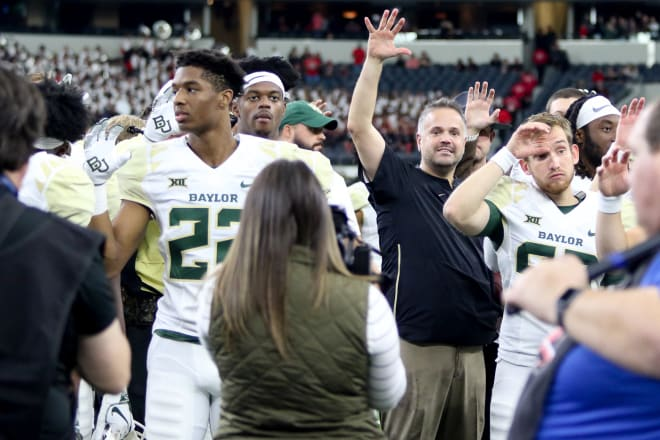 Baylor HC Matt Rhule has the Bears at 9-0 going into Saturday's game against Oklahoma.